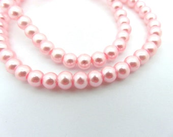 74 Pink Glass Pearls 6mm Beads - 14 inch - 5222