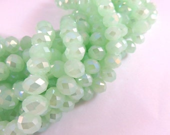 36 Green AB Glass Beads Opaque Light Mint Translucent Abacus Rondelle Faceted 8x6mm - 36 pc - G6021-MGL36