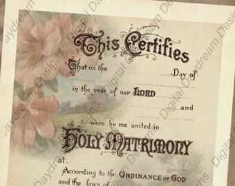 Printable Wedding Marriage Certificate Instant Digital Download No 18 Vintage Wedding DIY Wedding Gift Shower Gift Wedding Keepsake