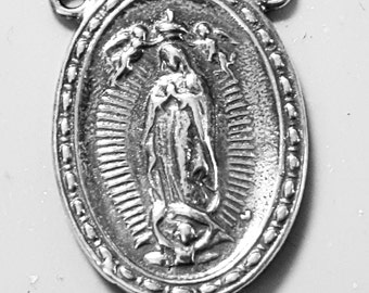 Our Lady of Guadalupe rosary center, Mother Mary, Rosary center, rosary supplies, sterling silver rosary center