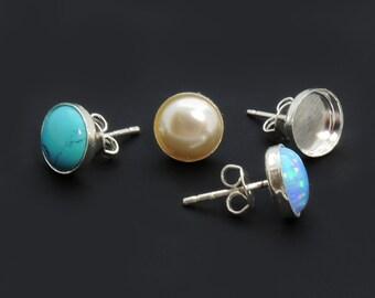 4pcs x Round High 15mm Bezel Earrings On Post include Ear Backs Sterling Silver 925 (61015)