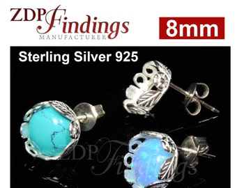 4pcs x Quality Cast Bezel on Post earring bases 8mm Sterling Silver 925 with ear backs (PO9139SH)