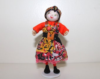 Handmade Felt Art Doll African Girl in Traditional Clothes