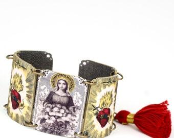 Mexican Folk Art Sacred Heart Madonna Linked Bracelet Tassel Bracelet Mexican Bracelet Frida Bracelet Sacred Heart Bracelet Madonna Bracelet