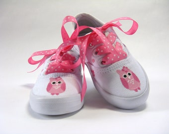 Pink Owl Shoes, Owl Theme Party, Owl Outfit, First Birthday, Birthday Party Shoes, Hand Painted Cotton Canvas Sneakers for Baby and Toddlers
