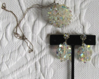 Demi Parure . austrian crystal necklace and dangling earrings . crystal ball necklace . crystal cluster earrings