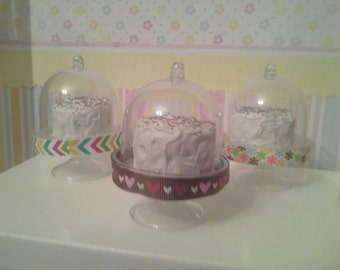 """18"""" doll Cake in display stand- 18 inch doll food, dessert 1:3 scale"""