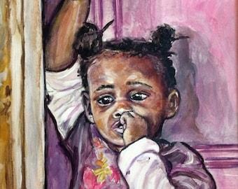 Original Painting - Wall Art Children - Ethnic Art - Paintings Bahamas - Nichols Town - Andros Island - Bahamas - Portrait Art