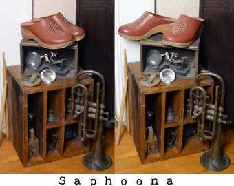 Vintage 60's 70's boho leather clogs brown woven wood soles platform shoes hippie festival Sweden Swedish rubber sole carved 6 INC US SHIP