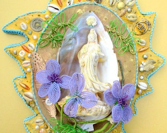 May You Dwell in Compassion-Quan Yin offering her compassion to the world Altar Shrine mosaic sacred wall art mixed media