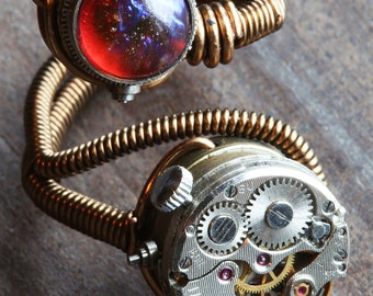 Steampunk Jewelry - Adjustable steampunk ring with watch movement and dragon's breath stone - Size 9 to 13 US