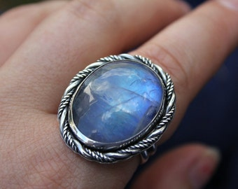 Rainbow moonstone ring - sterling silver ring - statement ring - cocktail ring - metalwork - twisted - magic