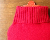 Cashmere Hot Water Bottle Cover. Ready to Ship Gift Idea. Red Cashmere Hottie Cover. Hot Water Bottle Sleeve. Cashmere Cover for Foot Warmer
