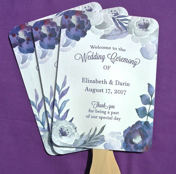 Wedding Hand Fans - Wedding Fans - Personalized Hand Fans - Purple Wedding Fans