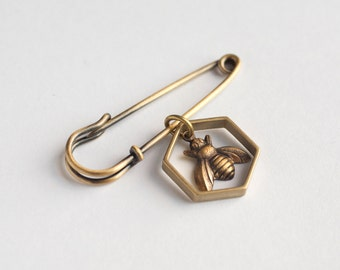 Honeybee Pin - Bee Brooche - Geometric Pin - Hexagon Pin - Bee Pin - Hexagon Jewelry - Bee Jewelry - Bee Charm - Queen Bee -