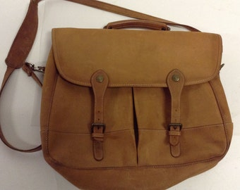 Raw Distressed Vintage Leather EDDIE BAUER Messenger Scholar Professor bag