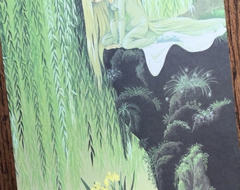 Princess in a Green Forest Vintage Fairy Tale Frame Worthy Original Book Page Illustration