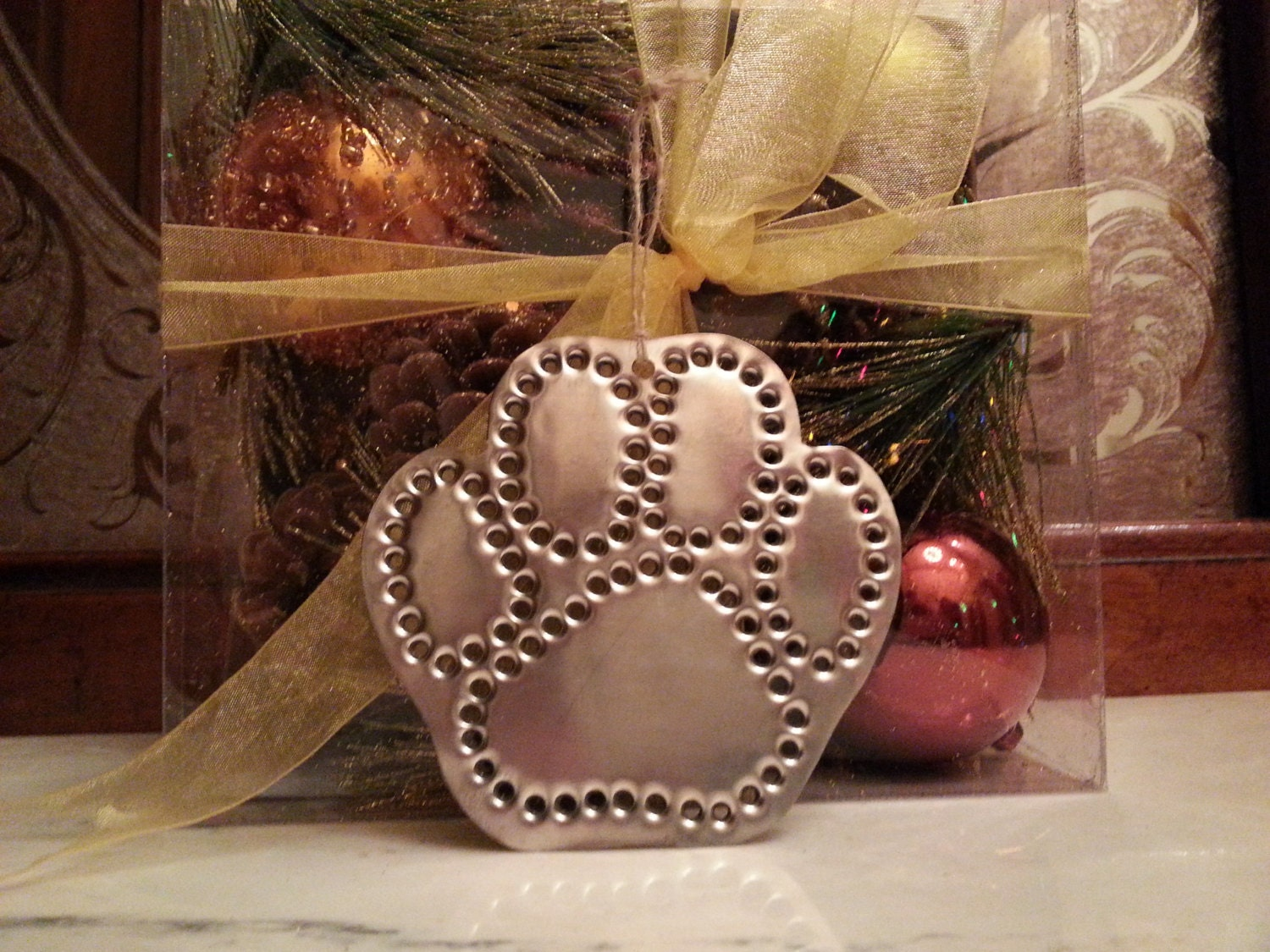 Paw Print Ornament Handmade Old Fashioned Tin Punch By West