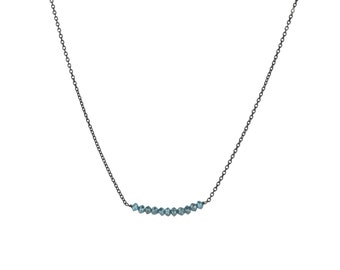 Blue Rustic Diamond Bead Bar Necklace on Oxidized Sterling Silver Chain 2 cm Length