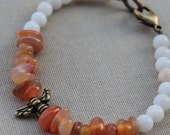 Bumble Bee Focal with Carnelian Nuggets and Stone Beaded Bracelet