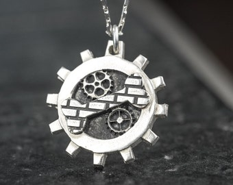 Industrial Steampunk Necklace Dog Bone Pets Gears Pendant Steam Punk