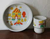 Arabia Finland Wartsila  Childrens set, bowl and cup, 70's bears, 50s-60s