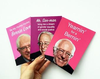 3 BERNIE SANDERS Valentine's Day postcards - In Stock Ready To Ship