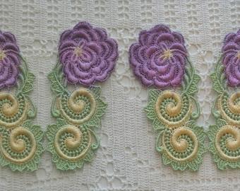 Crazy Quilt Hand Dyed Venise Lace Rose Applique, Trim Embellishment