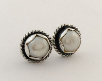 READY TO SHIP Handmade Pearl Sterling Silver Studs Post Earrings 6mm