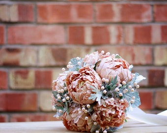 BRIDAL BOUQUET with couture flowers - handmade from scratch with designer pure silk and fresh water pearls