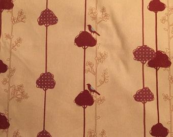 ECHINO by Etsuko Furuya Japanese fabric.  Balance Bird print in red.