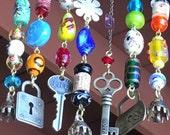 Wind Chime / Suncatcher with Fancy Glass Beads, Brass Bells, and Brass Charms, Garden Art