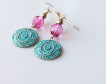 Bohemian Summer Earrings /Turquoise Patina and Pink / Boho Chic Earrings / Raw Brass Coin Connectors / Drop Earrings / Bohemian Jewelry