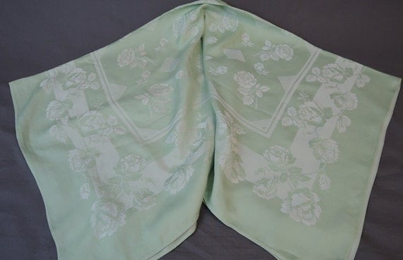 20% Sale   Vintage 1940s Damask Tablecloth, Square 48x48 Inches, Mint Green  Floral Kitchen Linens