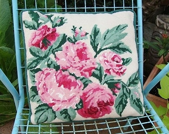 vintage needlepoint pillow pink roses shabby cottage style