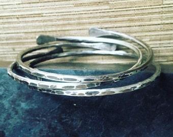 Hammered Sterling Silver Bracelets Bangle Set Silver Bracelet Set Rustic Jewelry Daniellerosebean Bangles Metalwork Jewelry