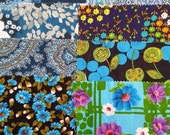 NOW ON SALE vintage fabric samples - 1970 fabric sample collection - Blue - 8 pieces