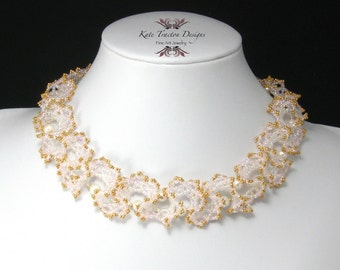 Ogalala Lace Necklace, White, Pink, Gold