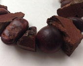 Recycled timber bead necklace rich chocolate tones by Mainichi