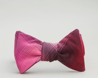 Eggplant bow tie for boys //  self tie bow tie //  purple toddler bow tie // plaid fuchsia bow tie