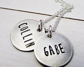 Rustic Mothers Necklace | Personalized Name Charms | Custom Charms | Hand Stamped Jewelry | Sterling Silver Charms | Eriadesigns