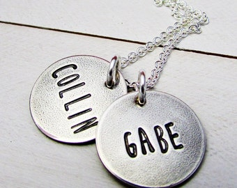 Rustic Mothers Necklace | Personalized Name Charms | Custom Hand Stamped Jewelry | Sterling Silver | Eriadesigns