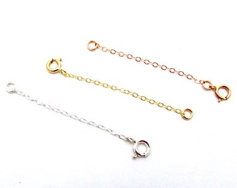 14K Yellow Chain Extender, 14K Rose Gold Chain Extender, 925 Sterling Silver Chain Extender, Choose Length, Cable Chain, Spring Clasp