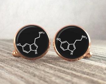 Science Cufflinks, Serotonin Molecule Cuff LInks, Gift for Him, Geek Cufflinks, Science Jewelry, Formula Cufflinks, Chemistry Cufflinks