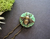 Bee Hair Pick, Button Hair Fork, Insect Hair Pin, Nature Inspired, Green Button, Victorian Bee, Woodland Bug, Wings, Bumble Bee, Honey Bee