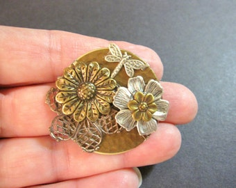 Dragonfly Brooch, Floral Pin, Floral Brooch, Nature Inspired, Backpack Pin, Metal Shawl Pin, Flower Sweater Pin, Flower Collage, Gifts