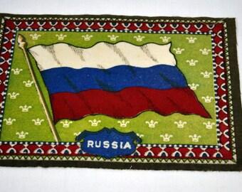 Russian Flag Flannel Felt Cigarettes Insert Vintage Tobacco Old Antique