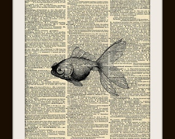 Art Print GOLDFISH 8x10 Dictionary Gold Gilded Vintage Page