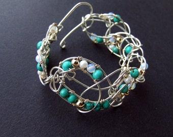 Blue Lace Bracelet Pearls Bracelet Turquoise Bracelet Sterling Silver Bracelet 45% Discount