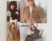 2000s UNCUT Vogue Accessories Anna Sui Sewing Pattern V639 Fuzzy Fur Vest, Bolero Jacket, Hat, Mittens & Leg Warmers - One Size Fits Most